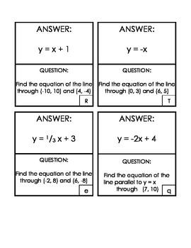 Algebra 1 Writing Linear Equations Scavenger Hunt Game