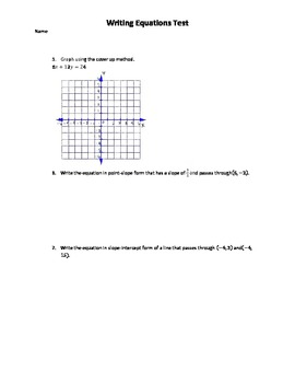 Algebra 1 Writing and Graphing Linear Equations Test