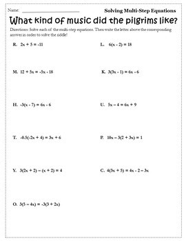 Thanksgiving Algebra Activities Equations {Thanksgiving Algebra 1 & 2 Worksheet}