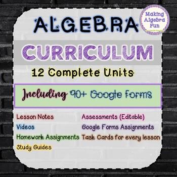 Algebra 1 curriculum BUNDLE Lesson Notes Homework Study Guides Quizzes & Tests
