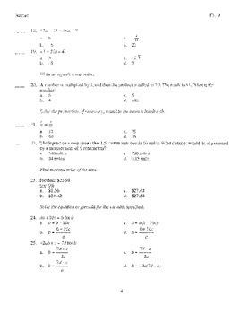 Algebra 1 first nine weeks test