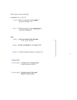 Algebra 1 linear equations practice test and solutions