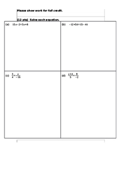 Algebra 1 quiz on proportions and solving equations with variables on both sides