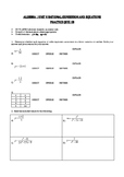 Algebra 1 rational expressions and equations version B
