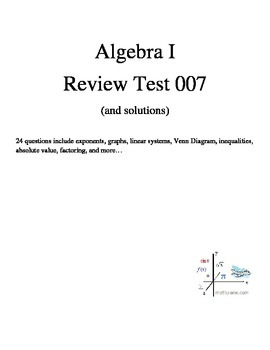 Algebra 1 review practice test (and solutions)