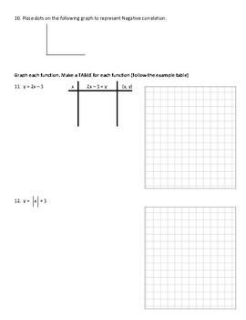Algebra 1 test/ quiz Quadratic functions