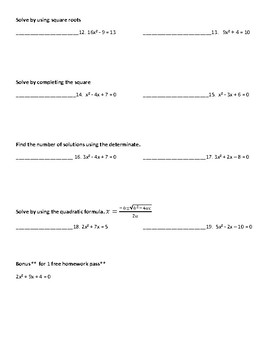 Algebra 1 test review Quadratic functions