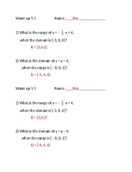 Algebra 1 warm ups