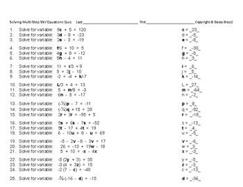 Algebra 12: Quiz  Solving Multi-Step Single-Sided Variable Equations