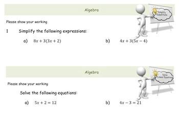 Algebra 14 page Workbook (with answers)