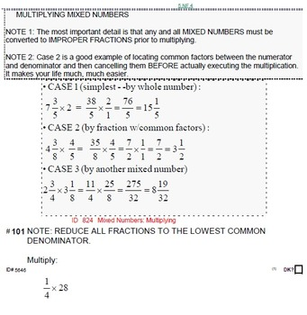 HS [Remedial] Algebra 1A UNIT 1: Fraction BASICS (5 worksheets; 7 quizzes)