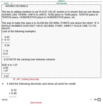 HS [Remedial] Algebra 1A UNIT 2: Decimal BASICS (5 worksheets; 7 quizzes)
