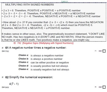 HS [Remedial] Algebra 1A UNIT 3: Percents;Signed Numbers(5 worksheets;7 quizzes)