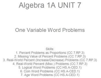 HS [Remedial] Algebra 1A UNIT 7: Word Problems (5 wrkshts;7 quizzes)