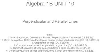 HS [Remedial] Algebra 1B UNIT 10: Parallel & Perpendicular (5 wrkshts;7 quizzes)