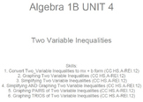 HS [Remedial] Algebra 1B UNIT 4: Two Variable Inequalities