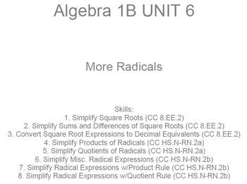 HS [Remedial] Algebra 1B UNIT 6: More Radicals (5 wrkshts;7 quizzes)