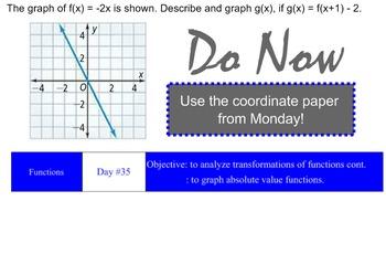 LONG HAUL: Algebra 2 Absolute Value Functions 2 Smartboard #20