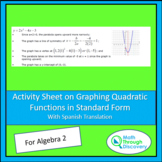 Algebra 2 Activity Sheet on Graphing Quadratic Functions i