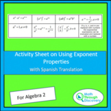 Algebra 2: Activity Sheet on Using  Exponent Properties