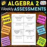 Algebra 2 Assessments Algebra 2 Quizzes {Spiral Review} EDITABLE