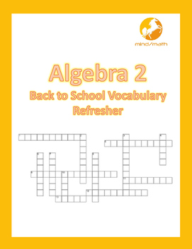 Algebra 2 Back to School Vocabulary Refresher