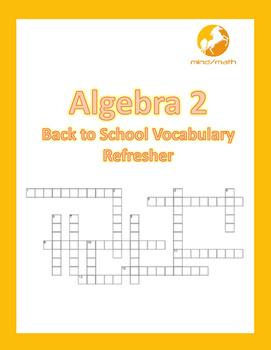 Algebra 2 Back to School Vocabulary Refresher