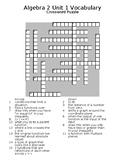 Algebra 2 Basics Vocabulary Puzzles