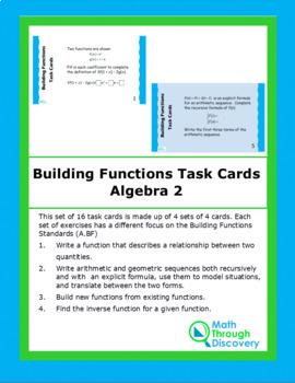 Algebra 2:  Building Functions Task Cards