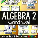 Algebra 2 Word Wall - print and digital