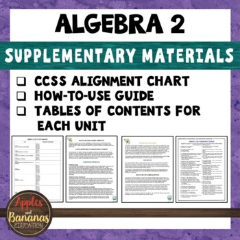 Algebra 2 Bundle Supplementary Materials and CCSS Alignment Guide