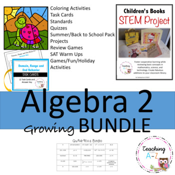Algebra 2 Bundle: Task Cards, Activities, Projects, and More!