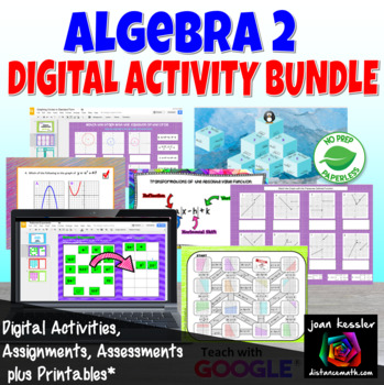 Algebra 2 Bundle of 20 Activities for GOOGLE Slides™ for Algebra 2 Curriculum