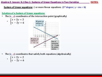 Algebra 2: CU 1: 8.1 Day 1: Systems of Linear Equations in Two Variables
