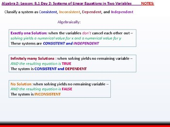 Algebra 2: CU 1: 8.1 Day 2: Systems of Linear Equations in Two Variables
