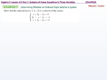 Algebra 2: CU 1: 8.2 Day 1: Systems of Linear Equations in Three Variables