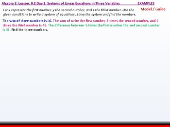 Algebra 2: CU 1: 8.2 Day 2: Systems of Linear Equations in Three Variables