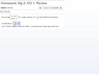 Algebra 2: CU 1: Review