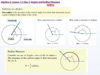 Algebra 2: CU 10: 5.1 Day 1: Angles and Radian Measure