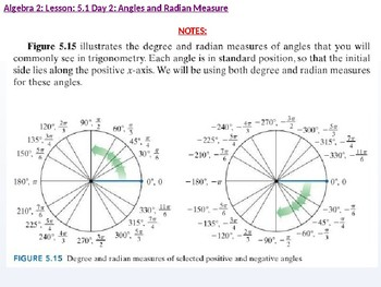 Algebra 2: CU 10: 5.1 Day 2: Angles and Radian Measure