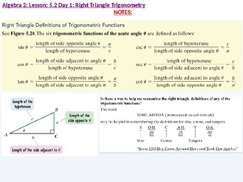 Algebra 2: CU 10: 5.2 Day 1: Right Triangle Trigonometry