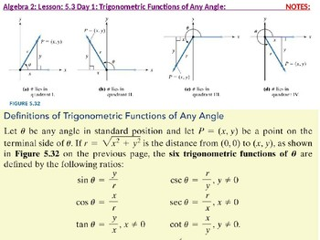 Algebra 2: CU 10: 5.3 Day 1: Trigonometric Functions of any Angle