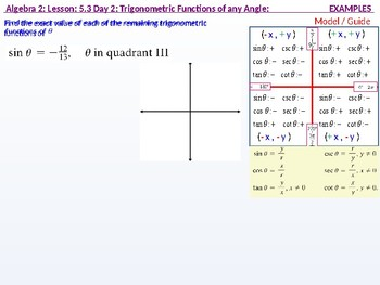 Algebra 2: CU 10: 5.3 Day 2: Trigonometric Functions of any Angle