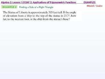 Algebra 2: CU 10: 5.8 Day 2: Applications of Trigonometric Functions