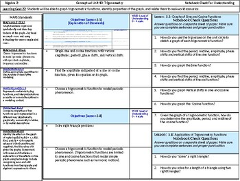 Algebra 2: CU 10: Standards, Objectives and LEQ's
