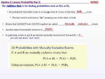 Algebra 2: CU 11: Probability Day 2: The Addition Rule