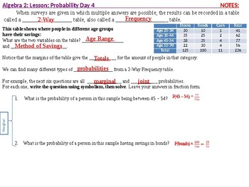 Algebra 2: CU 11: Probability Day 4: Probability and Two-Way Frequency Tables