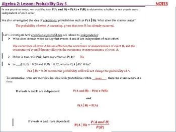 Algebra 2: CU 11: Probability Day 5: Extend Understanding of Independence