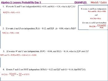 Algebra 2: CU 11: Probability Day 5: Extend Understanding of Independence