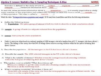 Algebra 2: CU 12: Statistics Day 1: Sampling Techniques and Bias